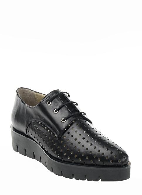 İnci %100 Deri Bağcıklı Platform Dolgu Topuk Ayakkabı Siyah